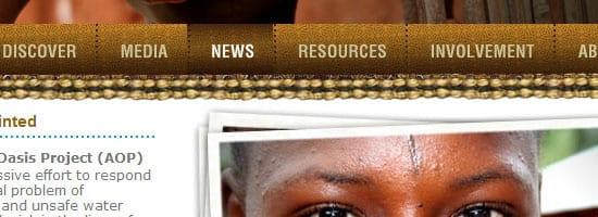Capture d'écran du menu de navigation du projet Africa Oasis.