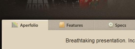 Capture d'écran du menu de navigation Aperfolio.