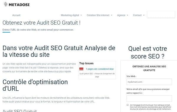 Notre Audit SEO Gratuit est un outil d'optimisation de site Web