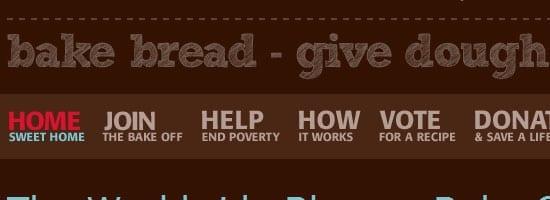 Capture d'écran du menu de navigation Worldwide Blogger Bake Off.