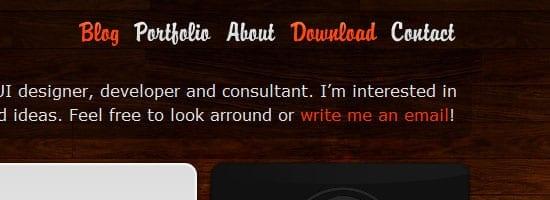 Capture d'écran du menu de navigation Candes.