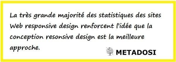 La majorité des statistiques sur les sites Web responsive design renforcent le fait que le responsive design est la meilleure approche.