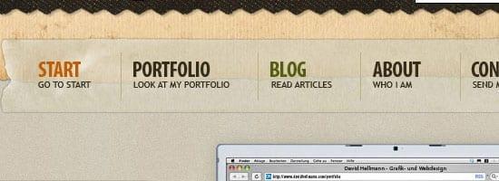Capture d'écran du menu de navigation de David Hellmann.