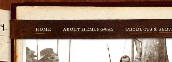 Capture d'écran du menu de navigation de la collection Ernest Hemingway.