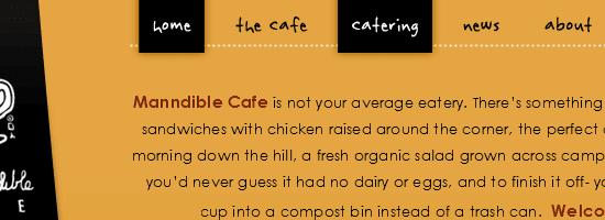 Capture d'écran du menu de navigation Manndible Cafe.