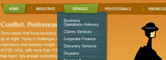 Capture d'écran du menu de navigation de Navigant Consulting.