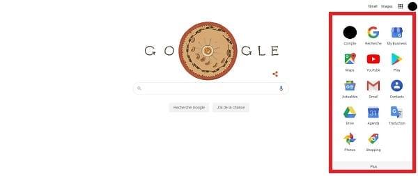 Menu déroulant sur la page d'accueil de Google.