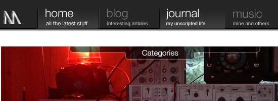 Capture d'écran du menu de navigation de Nuttersmark.com.