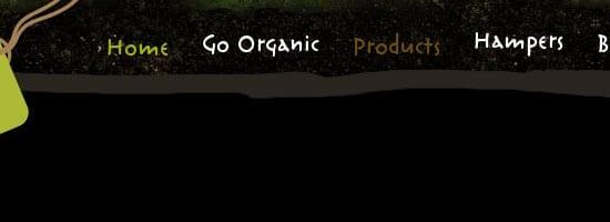 Capture d'écran du menu de navigation des aliments biologiques Irlande.