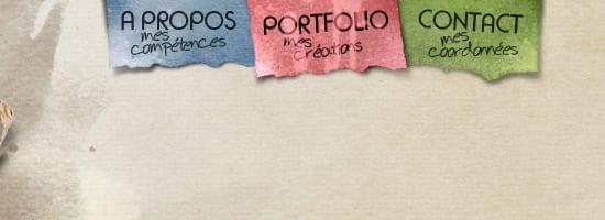 Portfolio de Guillaume Pacheco capture d'écran du menu de navigation.