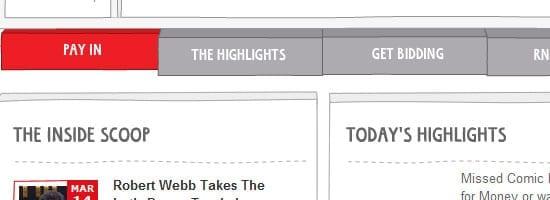 Capture d'écran du menu de navigation Red Nose Day.