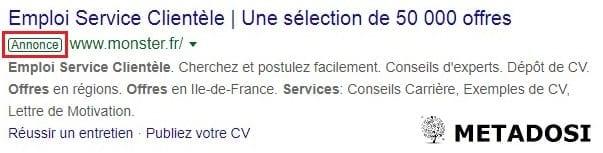Exemple de publicité pour trouver des spécialistes du service client