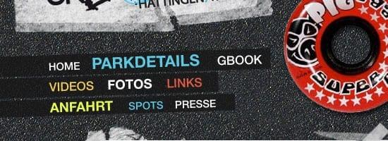 Capture d'écran du menu de navigation du Skatepark Hattingen / Ruhr.