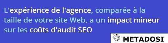 Un énoncé sur la façon dont l'expérience de l'agence influe sur les prix de vérification SEO