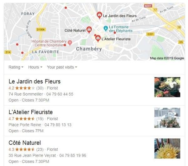 Pack 3 local Google Fleuriste Chambery