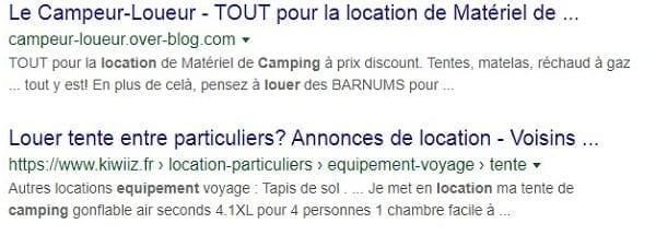 SERP Loueur materiel camping