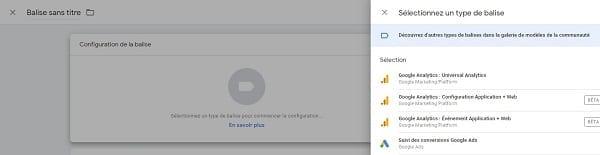 Menu des balises dans le Google Tag Manager