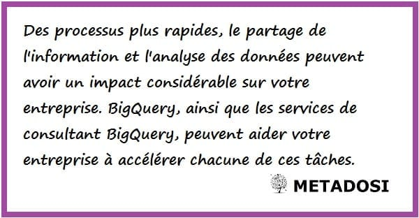 L'avantage des services de consultant BigQuery