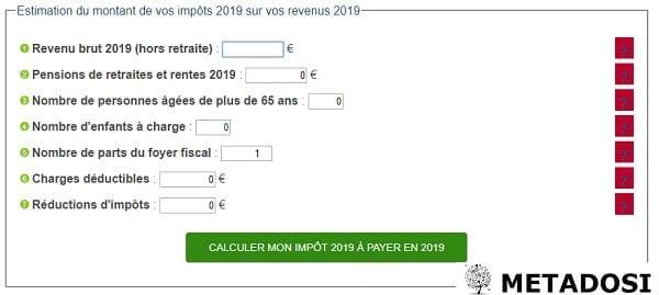 capture d'écran du calculateur d'impôts