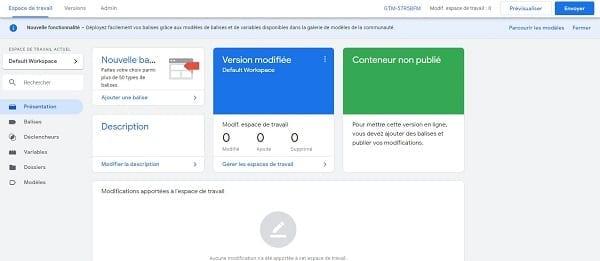 Capture d'écran du tableau de bord de Google Tag Manager
