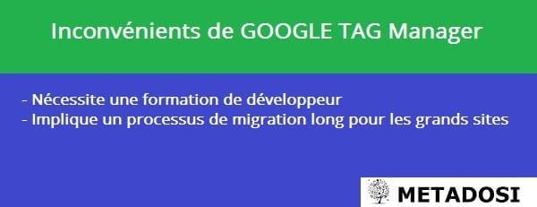 Une liste des inconvénients de Google Tag Manager