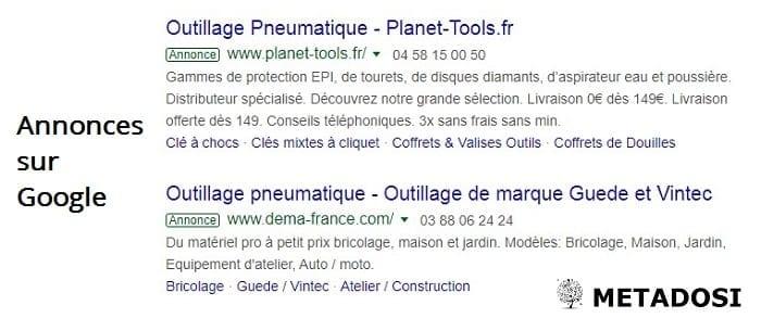 Une capture d'écran des annonces en ligne sur Google