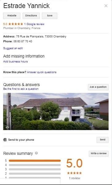 Capture d'écran de Google my Business