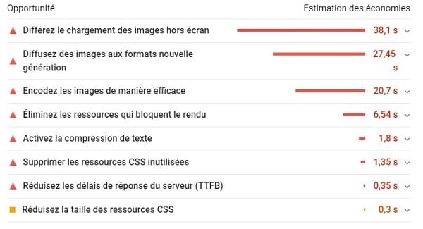 Recommandations du rapport Google PageSpeed Insights