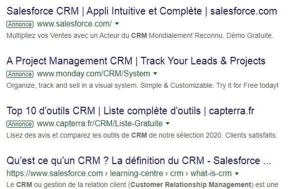 Une capture d'écran des annonces digitales et des résultats de recherche organique