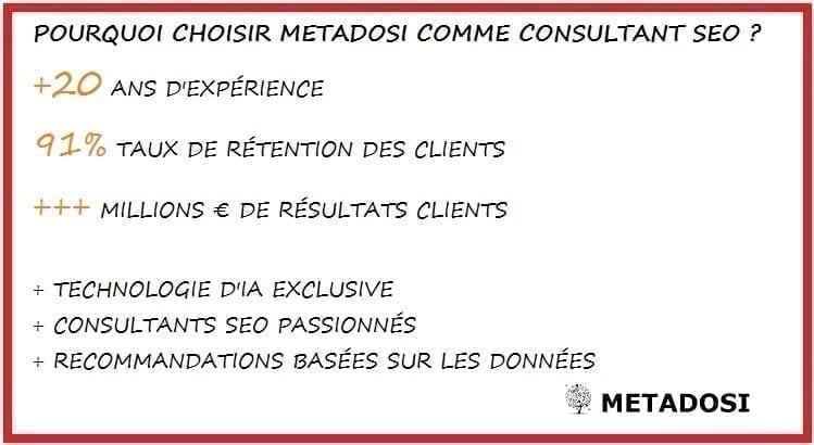 Pourquoi choisir Metadosi pour des services de consultant SEO