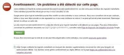 Exemple d'un site web piraté sur Google