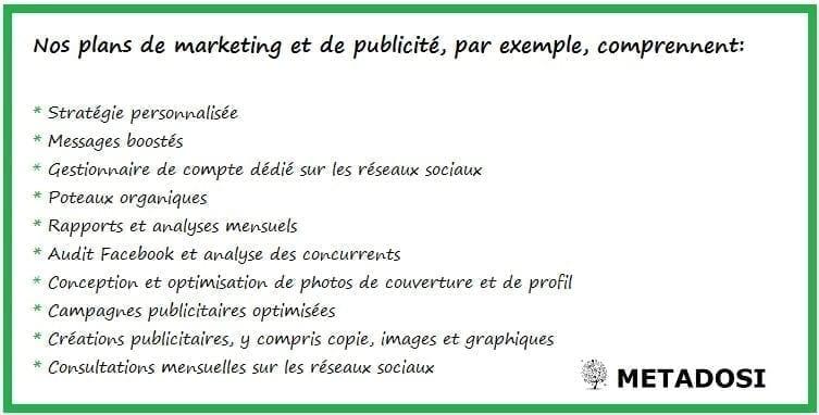 Les services de notre agence de marketing Facebook