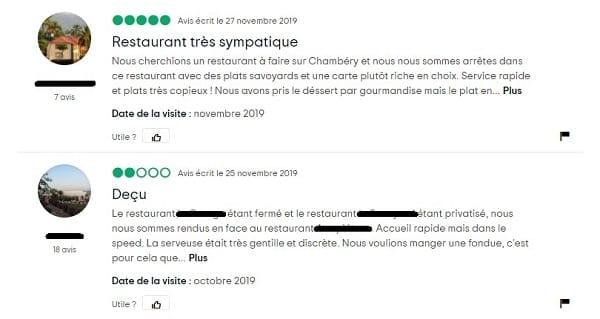 Capture d'écran des avis sur les restaurants en ligne