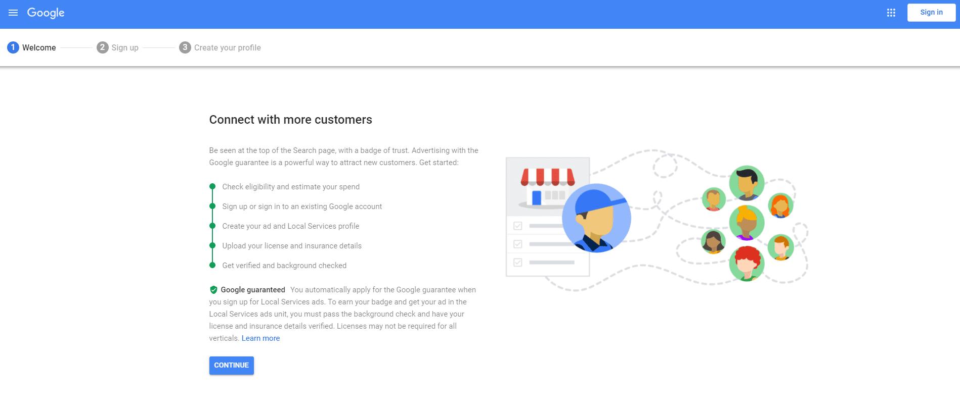 Page d'accueil des services de proximité