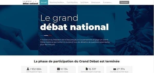 Exemple de défaillance d'un site web : granddebat.fr