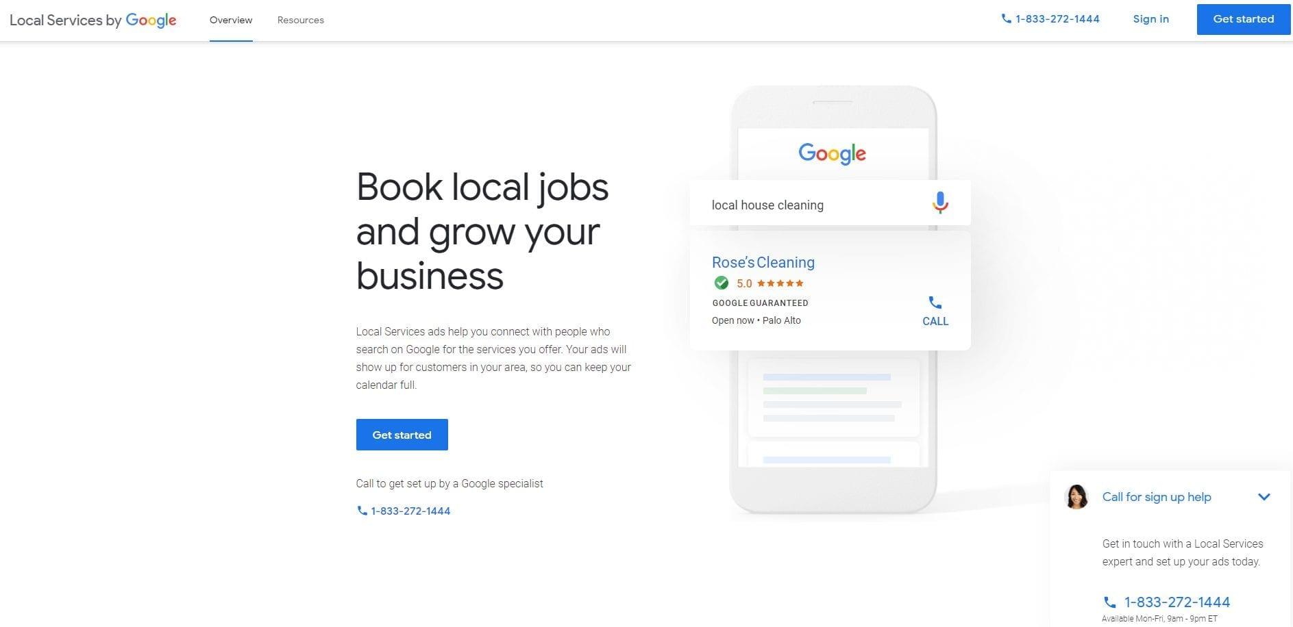 la page d'accueil des annonces Google service de proximité