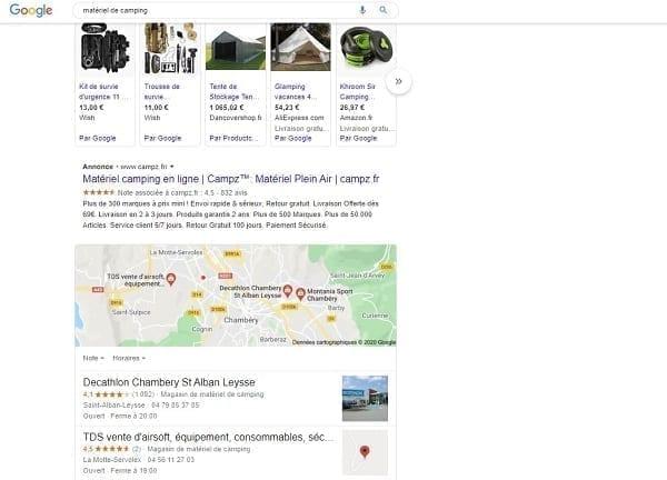 Exemple de référencement payant et de publicité dans les SERP de Google
