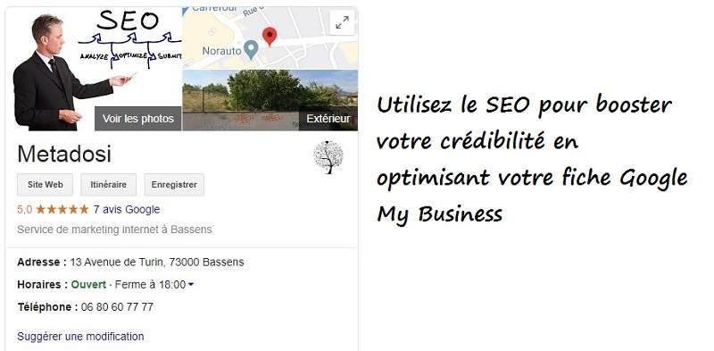 Un exemple de référencement Metadosi Google My Business