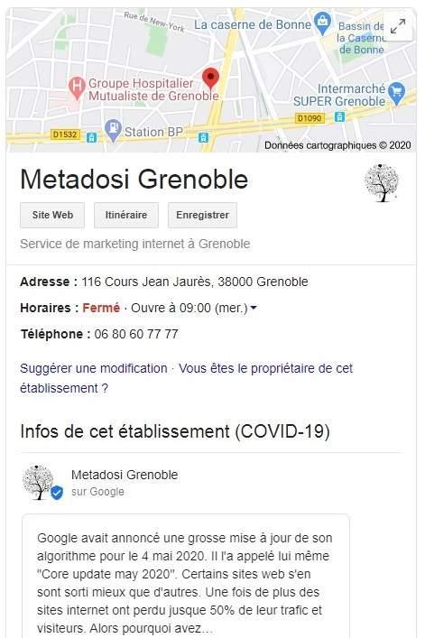 Metadosi Grenoble résultats locaux dans la recherche google