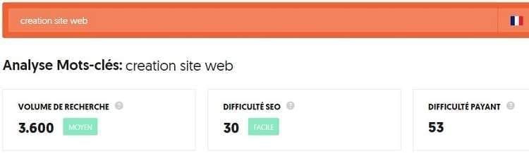 """combien de recherches le terme """"création site web"""" reçoit par mois"""