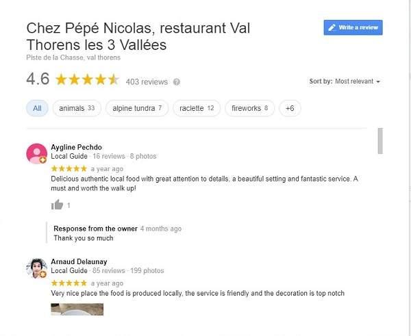 Google my Business restaurant