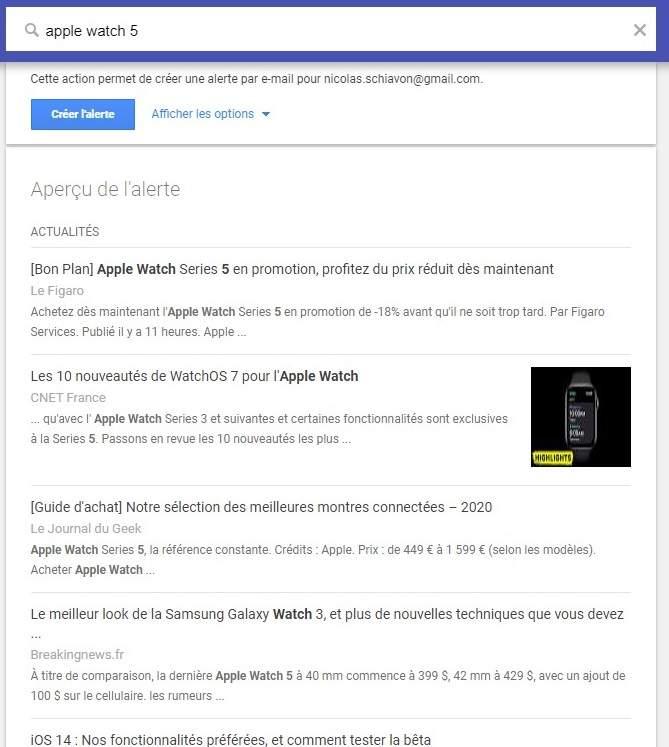 Un exemple de mot clé dans Google Alerte