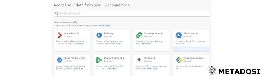Une capture d'écran des sources disponibles dans Google Data Studio