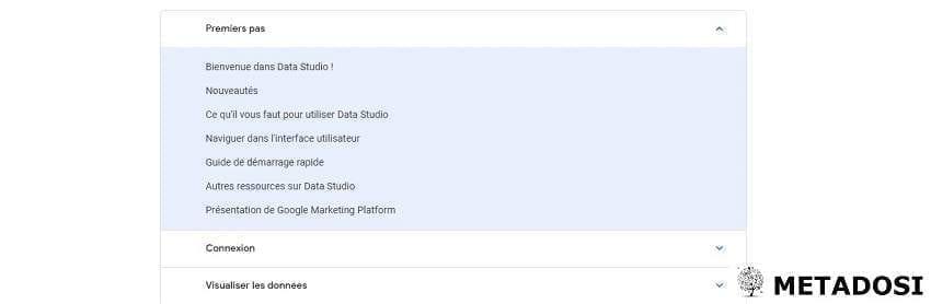 Une capture d'écran du centre d'aide dans Google Data Studio