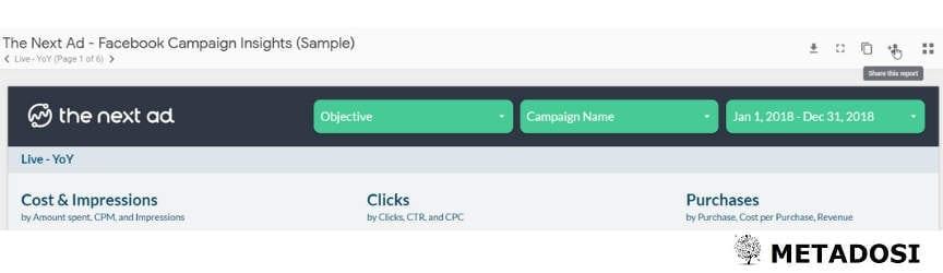 Une capture d'écran du partage dans Google Data Studio