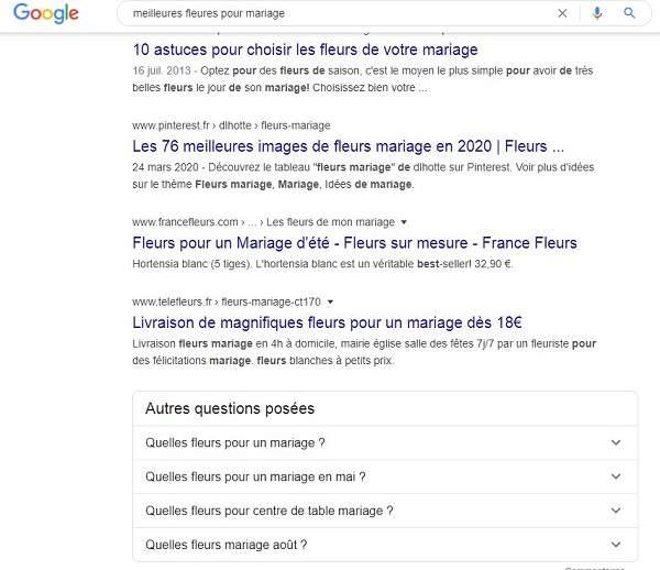 questions google sur les sujets