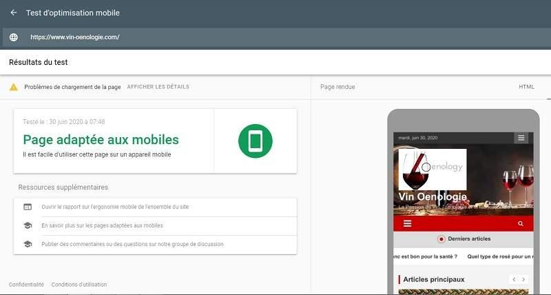 Exemple de convivialité mobile pour le SEO on page