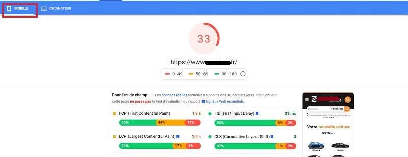 Aperçu de la vitesse de chargement de page web