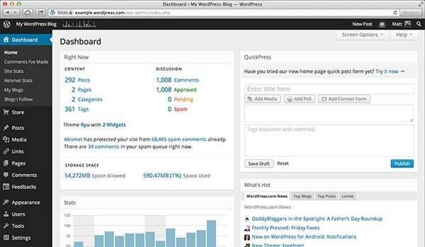 Nouveau tableau de bord WordPress