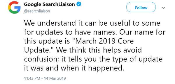 Annonce sur Twitter de la core update de mars 2019 de Google